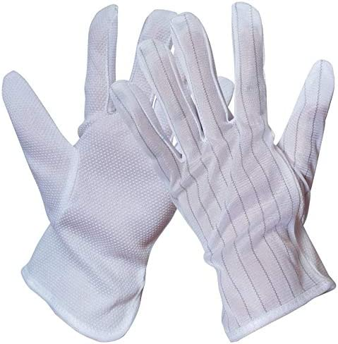労働保護作業用手袋 ユニセックス帯電防止滑り止め摩耗防止ストライプ通気性保護手袋、10ペア (Color : White, Size : L)