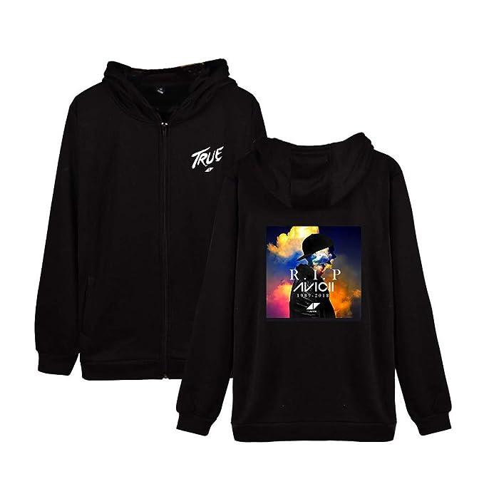 BESTHOO Unisex DJ Avicii Chaqueta con Capucha Casuales Abrigos De Parejas Hipster Jacket para Hombre y Mujer Coat con Cremallera Sudaderas Deportivo Outwear ...