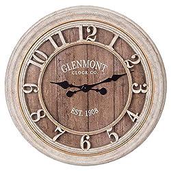 28 Distressed Gray Wood Plank Glenmont Wall Clock