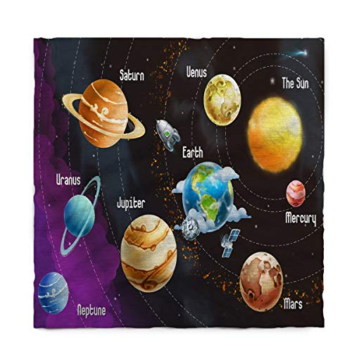 Fantasy Star Rectangle Polyester Tablecloth, Solar System Nine Planets Tablecloths Machine Washable Table Cover Decorative Table Cloth for Kitchen Dinning Banquet Parties 60 x 90 Inch by Fantasy Star
