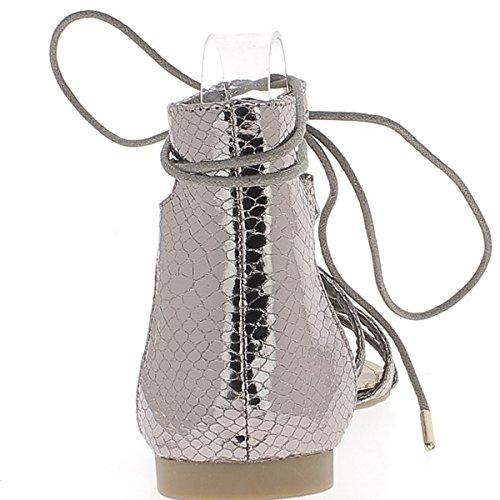 Grau Silber Spartan Sandalen Aspekt Croco gemalt mit 5 dünne Flansche und Spitze