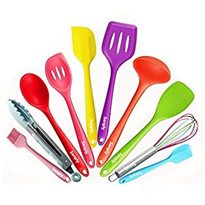 Silicone Kitchen Utensil Set - Colorful 10 Pieces Cooking Utensils Set, Kitchen Tool Set With Tongs, Mixing Spoon, Slotted Spoon Tools, Gadgets, Spatula sets, Basting brush, Whisk