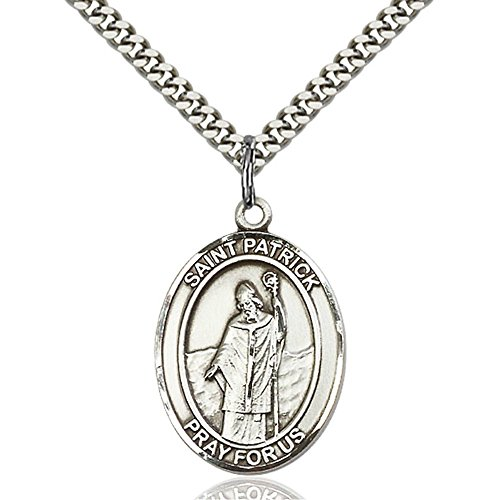 Sterling Silver Men's Patron Saint Medal of ST. PATRICK - Includes 24 Inch Heavy Curb Chain - Deluxe Gift Box -