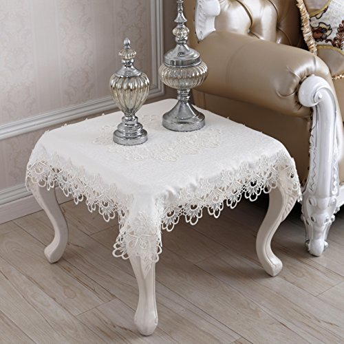 QXFSMILE Embroidered Table Cover Square Lace Tablecloth Unique Wedding  Decoration,33 By 33 Inch,White
