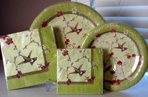 Hummingbird Pc (Serves 16! Summer Hummingbird Zen Garden 64 Pc. PAPER Plates & Napkins Set, C.R. Gibson)