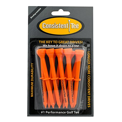 """ProActive Sports Consistent Tee 3 1/4"""" Pack of 10 Durable, Biodegradable Tees for Perfect Height and Position (Orange)"""