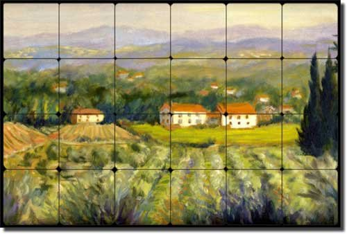 Tuscan Olive Orchard by Joanne Morris Margosian - Landscape Art Tumbled Marble Tile Mural 16