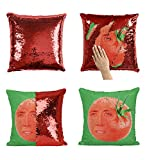 Nicolas Cage Tomato P112 Sequin Pillow, Sequin Pillowcase, Funny Pillow, Two color pillow, Present Pillow, Gift for her, Gift for him, Magic Pillow, Mermaid Pillow [With Insert]