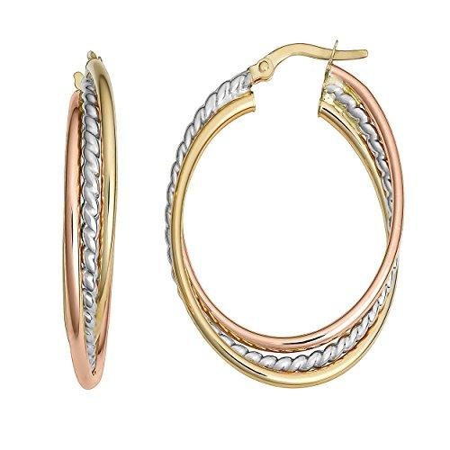 Kooljewelry 14k Tricolor Gold High Polish Overlapping Triple Oval Hoop Earrings ()