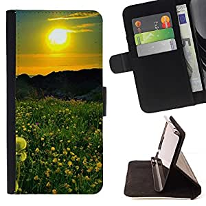 For Samsung Galaxy S5 V SM-G900 Case , Sunset Beautiful Nature 42- la tarjeta de Crédito Slots PU Funda de cuero Monedero caso cubierta de piel
