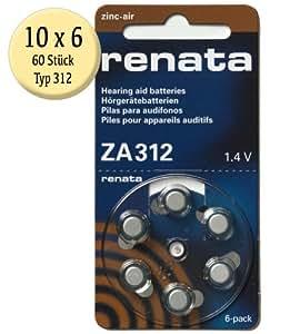 Renata ZA 312 - Pilas para audífonos (60 unidades, 180 mAh, 1,4 V)