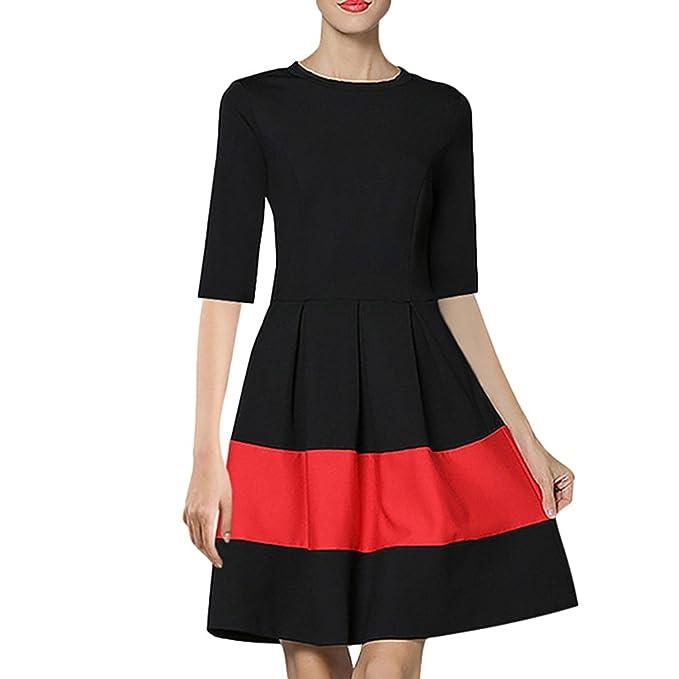 733f9fec039e Yiiquan Donna Obesa Moda Disegno di Cucitura Vestiti da Sera Eleganti  Vestito Taglie Forti  Amazon.it  Abbigliamento