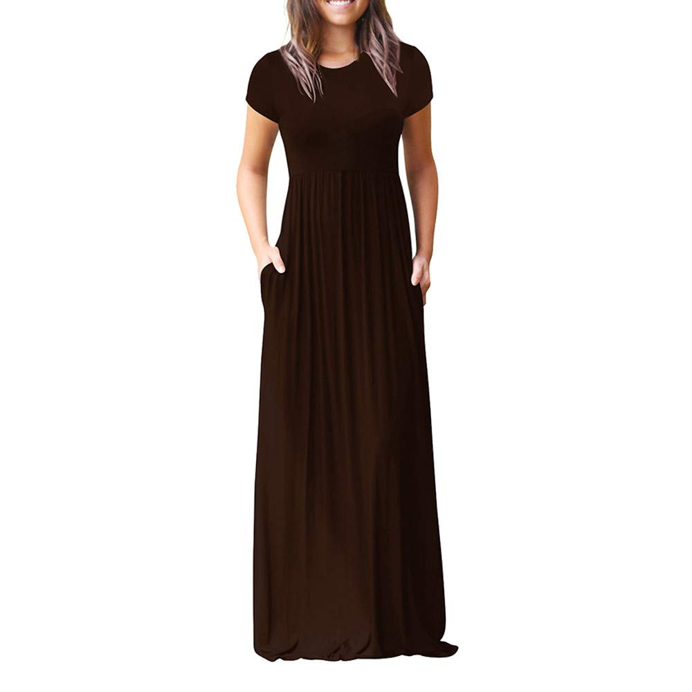 Kawaiine Women Short Sleeve Loose Plain Casual Plus Size Long Maxi Dress with Pockets Beige