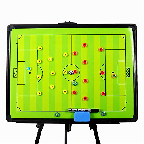 Joyeee Football/Soccer Magnetic Tactic Coaching Board, Portable Football Coach Tool, Coach's Equipment for Strategist, Techniques, and Plays - Large Size with Tripod Stand and Carrying Tote