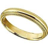 Gold IP Titanium 4mm Double Milgrain Comfort Fit Ring, Size 10