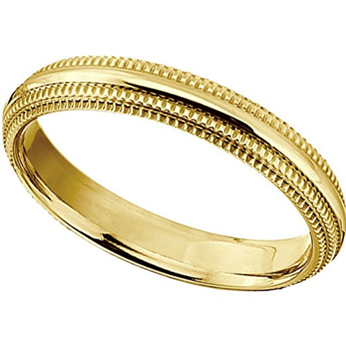 Gold IP Titanium 4mm Double Milgrain Comfort Fit Ring, Size 10 by The Men's Jewelry Store