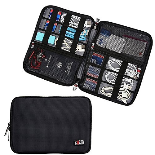 BUBM Travel Cable Organizer, Universal Electronics Accessories Storage Bag for Cord, Earphone, USB Flash Drive, Memory Card and More, Lightweight and Compact,Black (Usb Drive Flash Modular)