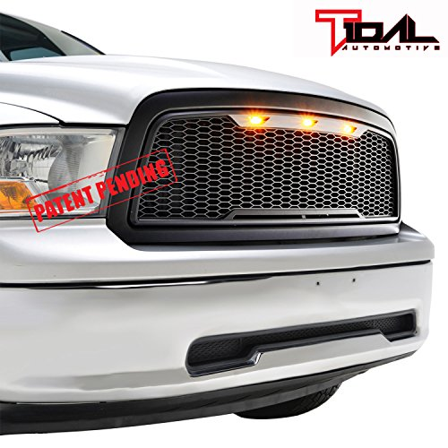 (Tidal Replacement Ram ABS Upper Grille Front LED Grill - Matte Black - With Amber LED Lights for 09-12 Dodge Ram 1500)