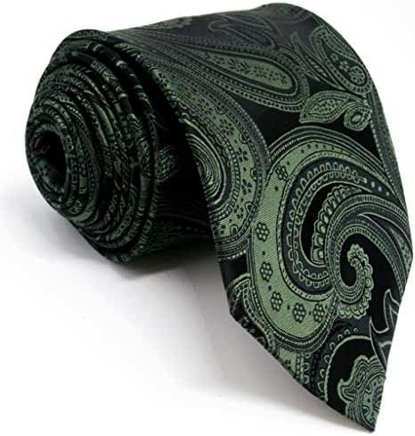 Shlax&Wing Mens Ties Paisley Neckties for Men Dark Green Silk 63