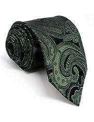 """Shlax&Wing Mens Necktie Paisley Dark Green Ties 58"""" 63"""" Extra Long Silk"""