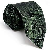 Shlax&Wing Mens Ties Paisley Neckties for Men Dark Green Silk 63