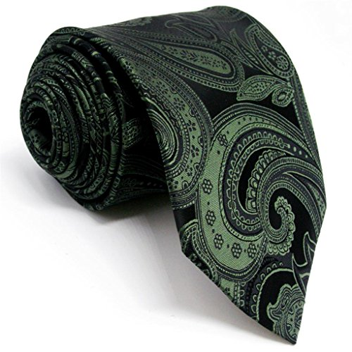 Shlax&Wing Mens Ties Paisley Neckties for Men Dark Green Silk