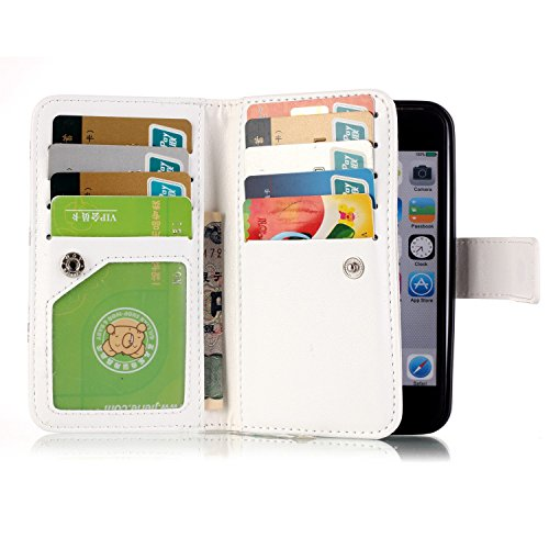 Para Smartphone Apple Iphone 5 5S se funda Flip cover funda piel [Tarjetero] funda piel cartera Executive Diseño + Polvo Conector blanco 3 8