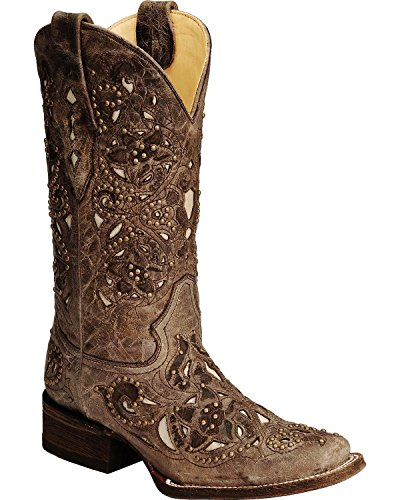 Corral Women's Studded Bone Inlay Crater Cowgirl Boot Square Toe Brown 8 M US by CORRAL