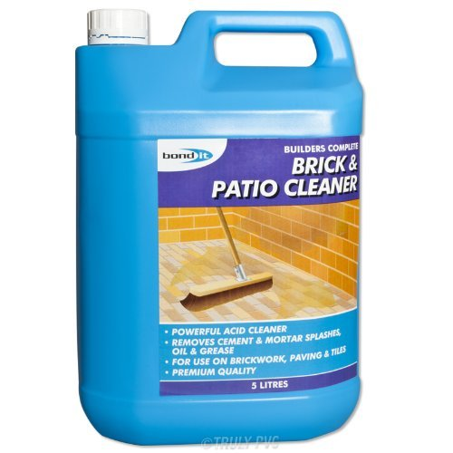 Bond-It Brick & Patio Acid based Cleaner - 5 Litre, A Powerful acid based cleaner that will remove cement and mortar splashes, grime, oil, grease and other stains on brickwork, patios, garages, pavin (Brick Cleaner Acid Patio)
