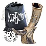 Alehorn - Genuine Drinking Horn Vessel - Large Natural Finish - Medieval Viking Norse Beer Mug - Game of Thrones Cup Goblet for Beer, Mead, Ale - Waterproof Interior Food Safe - Curved Style with Stand and Gift Sack Included - 100% LIFETIME WARRANTY