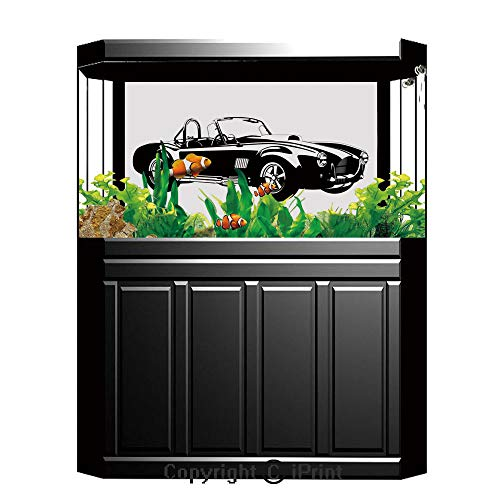 Fish Tank Background Decor Static Image Backdrop,Cars,Silhouette Classic Sport Car Ac Cobra Roadster American Antique Engine Autosport,Black White,Underwater Ecosystem Photography Backdrop for Photo - Roadster Fire Engine
