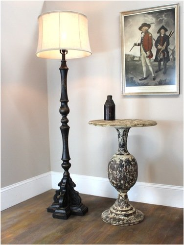 Black Floor Lamp with Aged Black Painted French Country Finish Soft Back Shade by The King's Bay (Image #4)