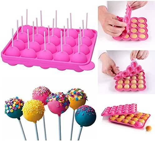 DECORA 20-Cavity Silicone Mold for Cake Pop,Hard Candy, Lollipop and Party Cupcake