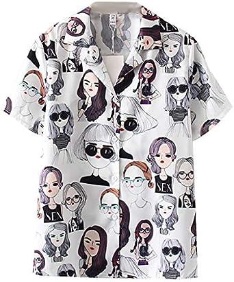 Fossen Camisas de Mujer de Moda 2020 Casual Verano - Camisa Blusas para Mujer Suelta con Estampada de Comic Girl Avatar Originales, Personalidad Blusa para Fiesta, Ocio, Vacaciones: Amazon.es: Ropa y accesorios
