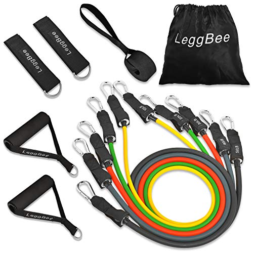 LeggBee Resistance Bands Exercise Bands with Handle | 150 LBS Max Training Bands Set | Door Anchor Handles Leg Straps for Leg and Hip Workout | Portable Home Gym Excersize Bands
