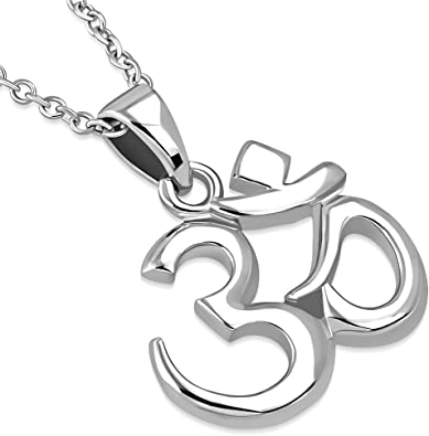 925 Sterling Silver Om Aum Ohm Yoga Pendant Necklace