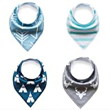 Baby Bandana Drool and Dribble Bibs for Boys and for Girls - (Set of 4, Gift Set) - Best for Babies Drooling, Teething and Feeding