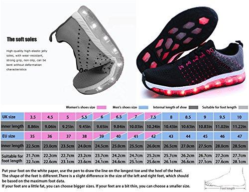 Turnschuhe 1710 Damen LED Sportschuhe Schwarz Unisex Herren Erwachsene Freizeit Leuchtend Kinder Fuer Schuh USB Aufladen 7 Sneakers Farbe Ang Mr Schuhe fw58vqTnHx