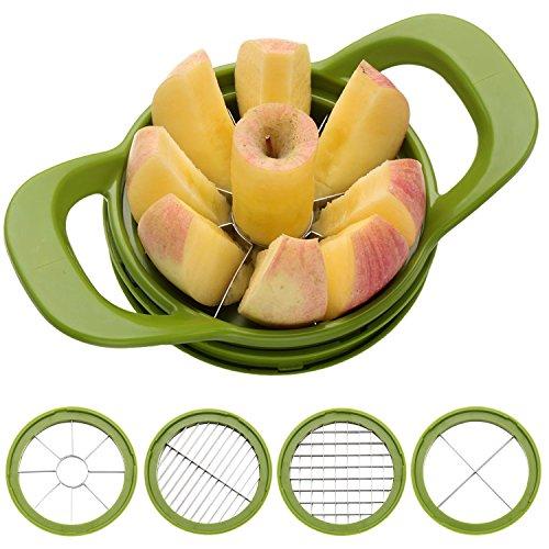 Homdox Multifunktions Apfelteiler, Birnenteiler ABS und Edelstahl Grün mit vier Edelstahlklinge