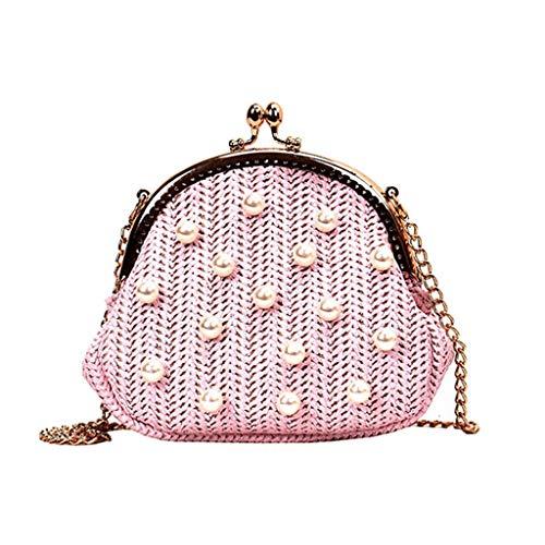 - HYSGM Women Retro Pearl Weave Hasp Bag Summer Travel Handle Bag Chain Shoulder Bags (Pink)