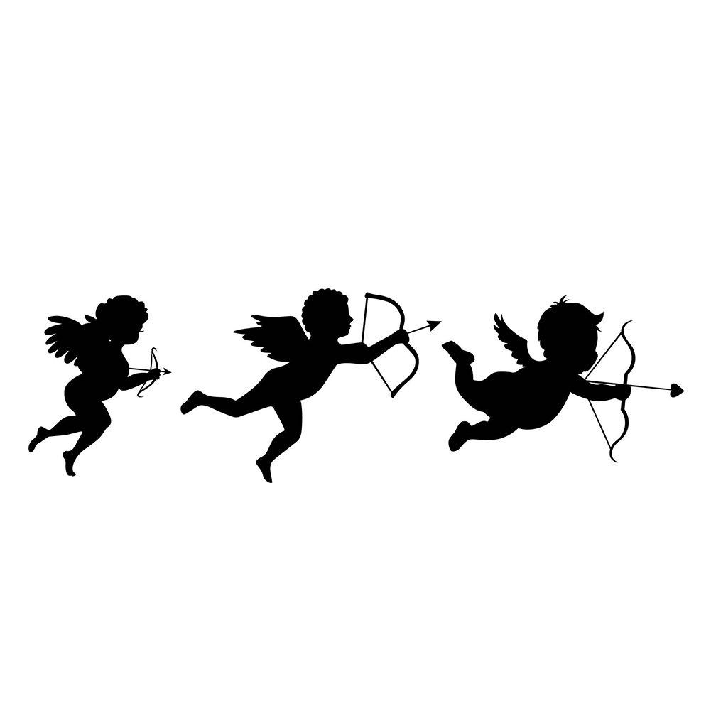 JUNGEN Autocollants Muraux Stickers 13 * 43cm motif de Cupidon anges Sticker mural en PVC pour la maison anglais inscription home papier peint Wall decoration DIY Décoratif