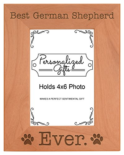 German Shepherd Christmas Gift Best German Shepherd Ever Natural Wood Engraved 4x6 Portrait Picture Frame - German Glasses Best Frames