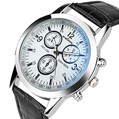Sandistore Luxury Fashion Faux Leather Mens Blue Ray Glass Quartz Analog Watches