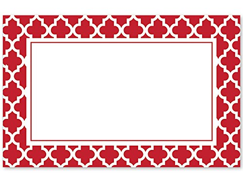 Pack Of 50, Geo Graphics Tiles Red Enclosure Card 3-1/2'' x 2-1/4'' Made In USA by Generic