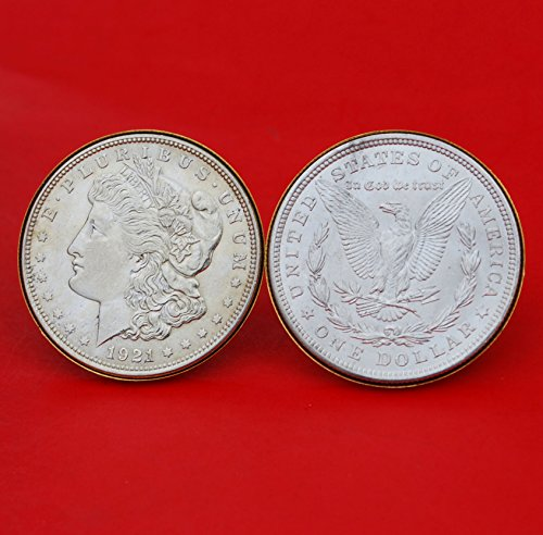 US 1921 Morgan Silver Dollar BU Uncirculated Gold Cufflinks NEW - OBVERSE + REVERSE by jt6740