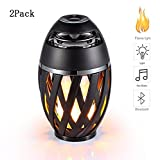 GUORZOM LED Flame Light Bluetooth Audio Outdoor Portable 360° Stereo Speaker Hands-Free Calling Language Tips Colorful Flashes Lighing, 2Pack