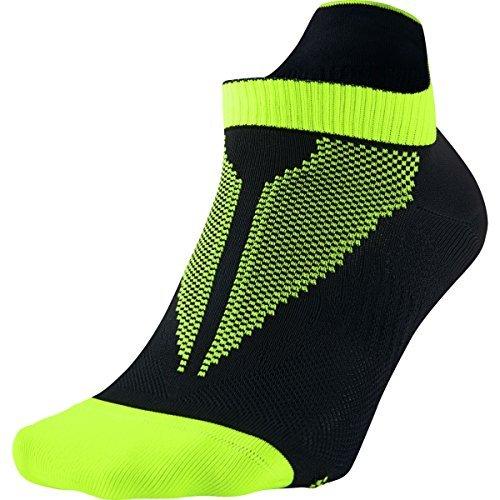 Nike Elite Run Lightweight No-Show Socks Black/Volt/Volt, 6.0-7.5