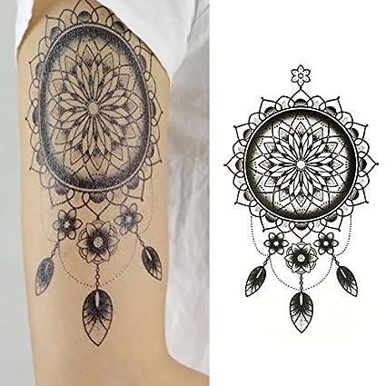 Oottati Tatuajes Temporales Tribales Flor India (2 hojas): Amazon ...