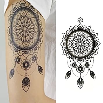 7c33df3ed5212 Amazon.com : Oottati Men Old School Tribe Black Temporary Tattoo Indian  Flower (2 Sheets) : Beauty
