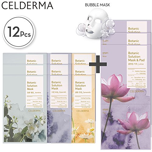 CELDERMA Korean Mask Sheet Pack - 12 Premium Face Masks For Cleansing, Exfoliating, Moisturizing with Lotus Extract and Jojoba Seed Oil (Things To Include In A Care Package)